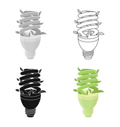 Ecological fluorescent lamp icon in outline style vector