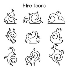 Fire flame icon set in thin line style vector