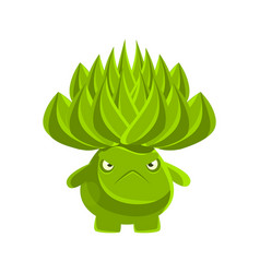 Green cute cactus with sad face cartoon emotions vector