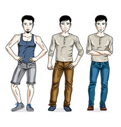 happy men posing in stylish casual clothes people vector image vector image