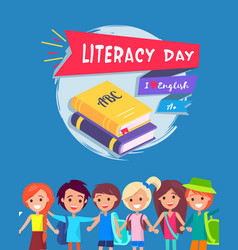 Literacy day postcard vector