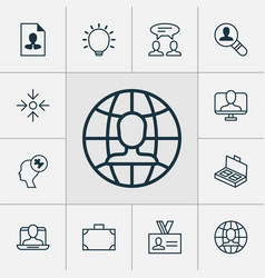 Management icons set collection of document vector