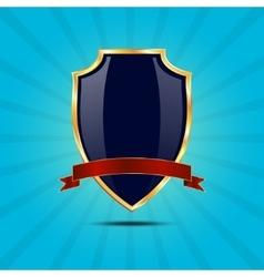 Metallic blue golden shield vector image