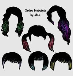 Ombre hairstyle for women vector