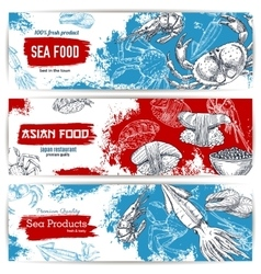 Seafood and japanese cuisine restaurant banner set vector image vector image