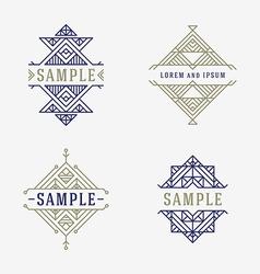 Set of Line Art Decorative Geometric Frames and vector image