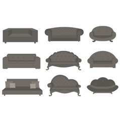Sets of sofa furniture for an interior vector image vector image