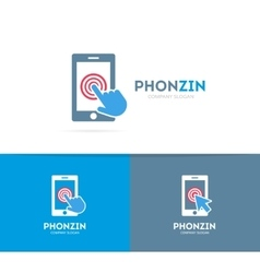 Smart phone and click logo combination vector