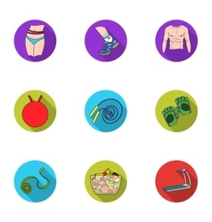 Sport and fitness set icons in flat style Big vector image