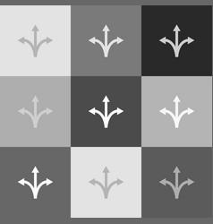 three-way direction arrow sign grayscale vector image vector image