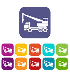 Truck crane icons set flat vector