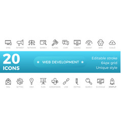 web development icons set outline style vector image