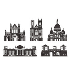 Western europe isolated european buildings vector