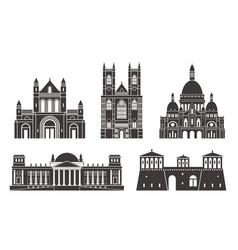 Western europe isolated european buildings vector