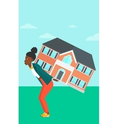 Woman carrying house vector