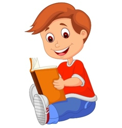Young boy cartoon reading book vector image