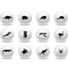 Web buttons australian animal icons vector image