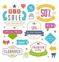 Sale Tags and Labels Design Vintage Set vector image