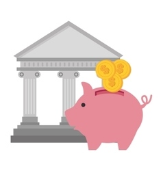 Bank piggy currency graphic vector