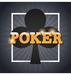 Clover of poker inside frame design vector image