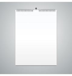 Realistic Calendar Template Blank vector image