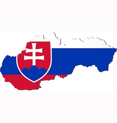 Map of slovakia with national flag vector