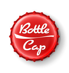 Beer cap  red bottle cap mock up temaplate vector