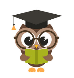 Cute brown owl with book vector