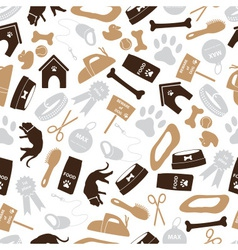 Dog icons brown color seamless pattern eps10 vector