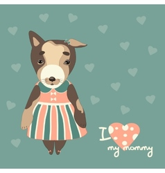 Cute puppy in a dress vector
