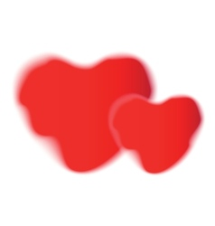 Pair of heart red shapes on white background vector image