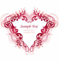 Red heart with filigree ornament vector