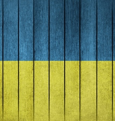 Wooden grunge flag of ukraine vector