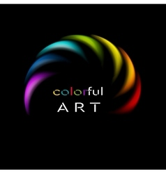Colorful rainbow abstract logo on black background vector