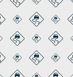 Road slippery icon sign seamless pattern with vector