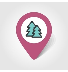 Forest map pin icon vector