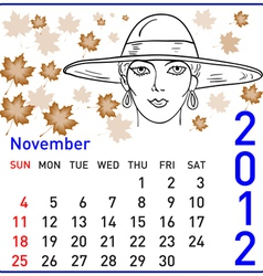 2012 year calendar in november vector