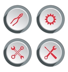 Screwdriver cogwheel pliers wrench key icon vector