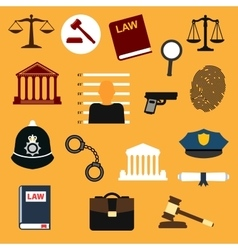 Law justice and police flat icons vector