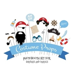 Pirate photo booth props and scrapbooking vector