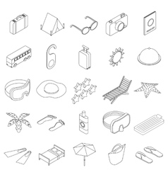 Travel icons set isometric 3d style vector
