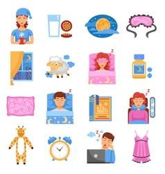 Healthy sleep flat icons set vector