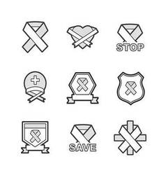 Ribbon of carcinoma cancer set icons set vector
