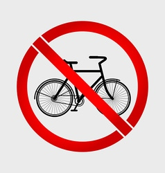 No bicycle prohibition sign vector