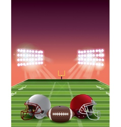 American football field stadium at sunset vector