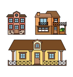 Background with colorful set of country houses vector