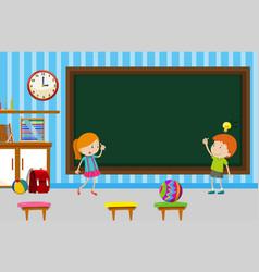 boy and girl writing on blackboard in classroom vector image