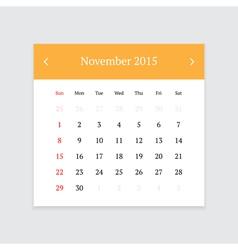 Calendar page for november 2015 vector