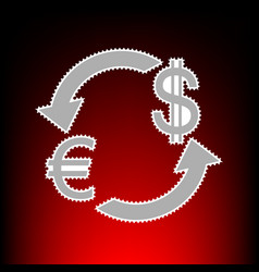 Currency exchange sign euro and dollar postage vector