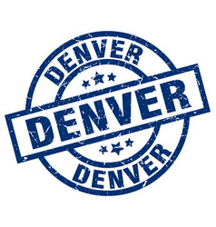 Denver blue round grunge stamp vector